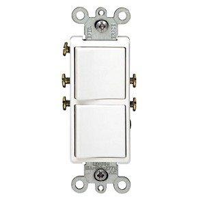 Leviton 5641 Decora Combination Stacked Single Pole / 3-Way Switch